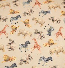 100x150 cm French Terry digital printed brushed wild animals beige