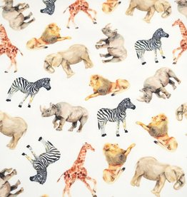 100x150 cm French Terry digital printed brushed wild animals offwhite