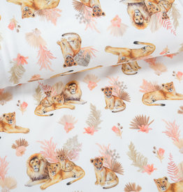 100x150 cm cotton jersey digital print lion family offwhite Blooming Fabrics