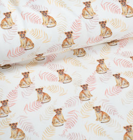 100x150 cm cotton jersey digital print lion cubs offwhite Blooming Fabrics