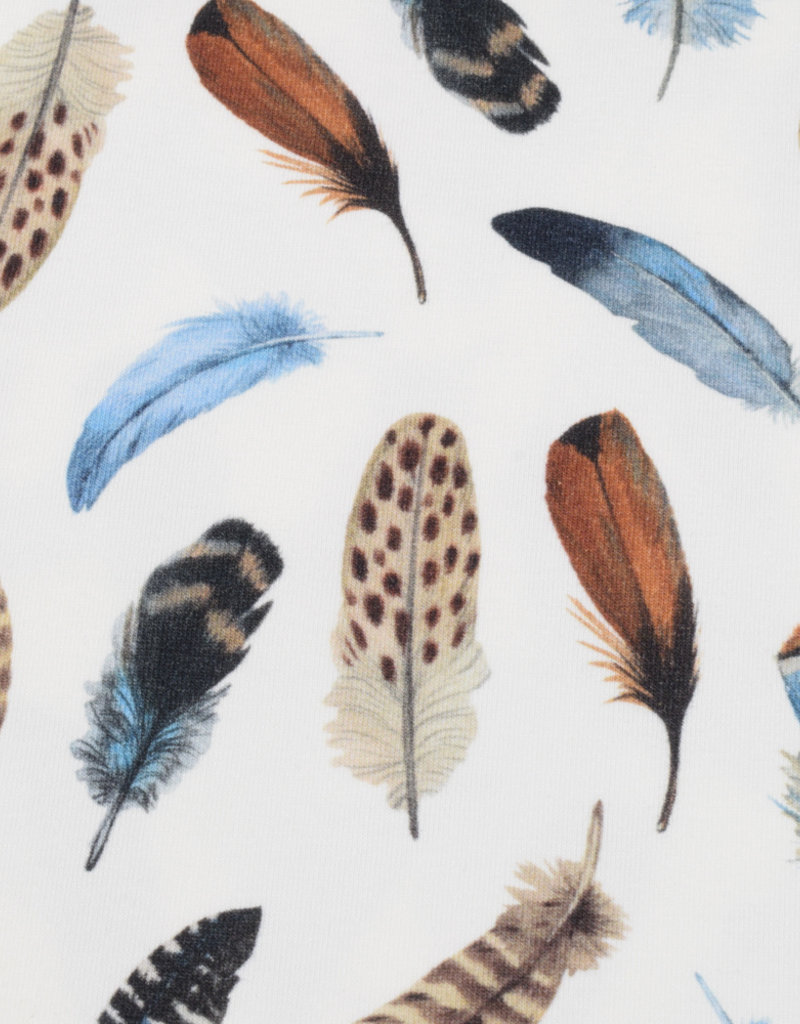 100x150 cm cotton jersey digital print feathers offwhite -Limited Edition-