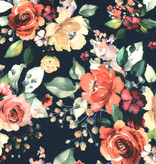 100x150 cm cotton jersey digital print flowers navy -Limited Edition-