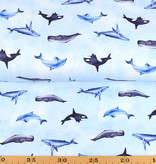 100x150 cm cotton jersey digital print dolphins and whales light blue -Limited Edition-