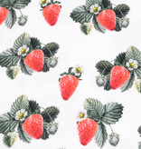 100x150 cm cotton jersey digital print strawberries with flowers white -Limited Edition-