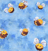 100x150 cm cotton jersey digital print bees blue -Limited Edition-
