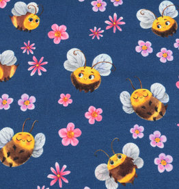100x150 cm cotton jersey digital print flowers and bees dark blue -Limited Edition-