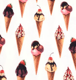 100x150 cm cotton jersey digital print ice cream cones offwhite -Limited Edition-