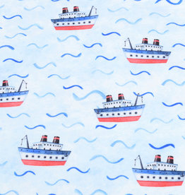 100x150 cm French Terry digital printed brushed boats light blue -Limited Edition-