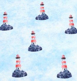 100x150 cm French Terry digital printed brushed lighthouses light blue -Limited Edition-