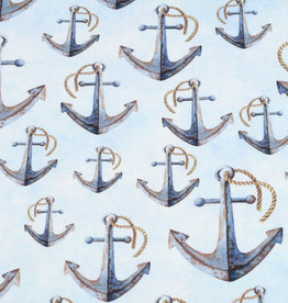 100x150 cm French Terry digital printed brushed anchors light blue -Limited Edition-
