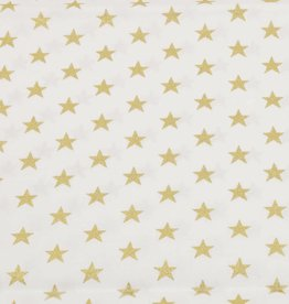 50x140 cm baumwolle Christmas Sterne offwhite/gold