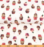 100x150 cm cotton jersey digital print cupcakes offwhite -Limited Edition-
