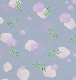 100x150 cm French Terry digital print lavender leaves grey blue Blooming Fabrics