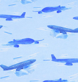 100x150 cm French Terry digital print airplanes light blue Blooming Fabrics