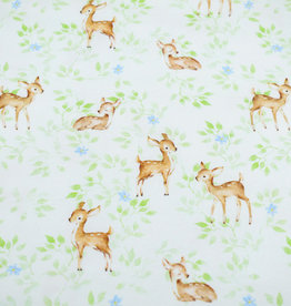 100x150 cm GOTS cotton jersey digital print deer with leaves offwhite