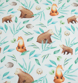 100x150 cm GOTS cotton jersey digital print forrest animals with leaves offwhite
