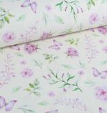 100x150 cm GOTS katoen tricot digitaaldruk paarse bloemen en vlinders offwhite