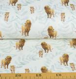 100x150 cm GOTS katoen tricot digitaaldruk leeuwen met bladeren offwhite