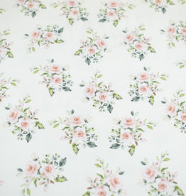 100x150 cm GOTS cotton jersey digital print pink roses offwhite