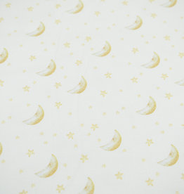 100x150 cm GOTS cotton jersey digital print moon and stars offwhite