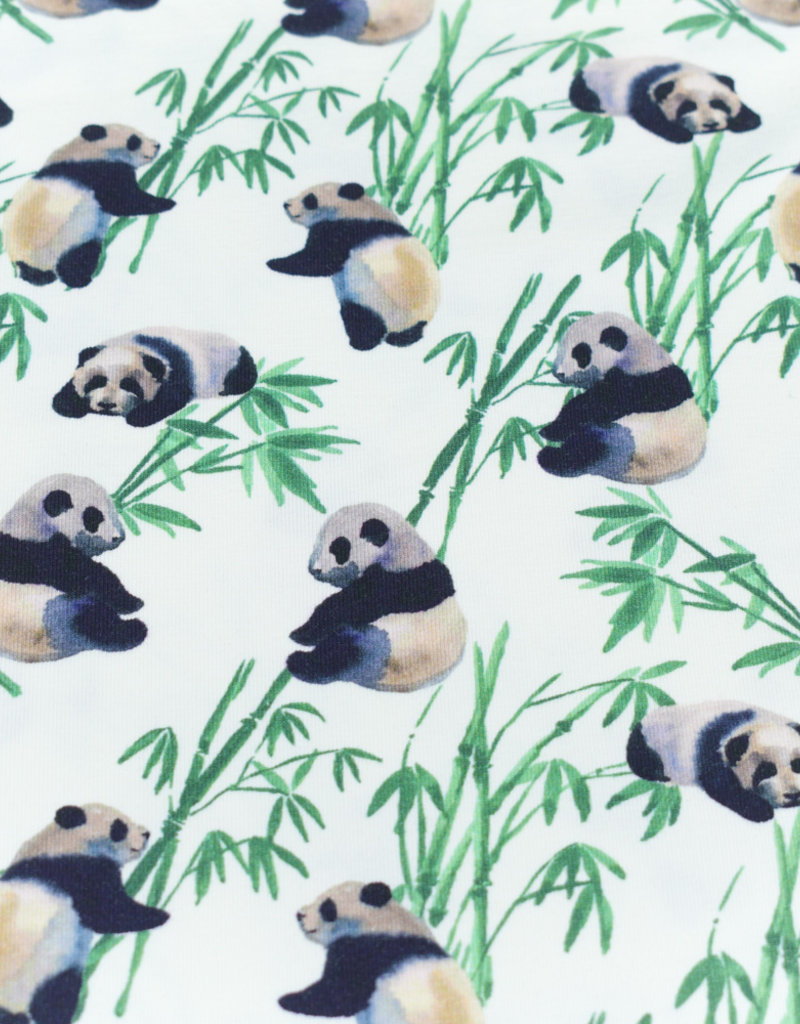 100x150 cm cotton jersey digital print bamboo offwhite Blooming Fabrics
