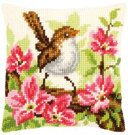 Vervaco Vervaco Kruissteekpakket vogeltje met roze bloemen