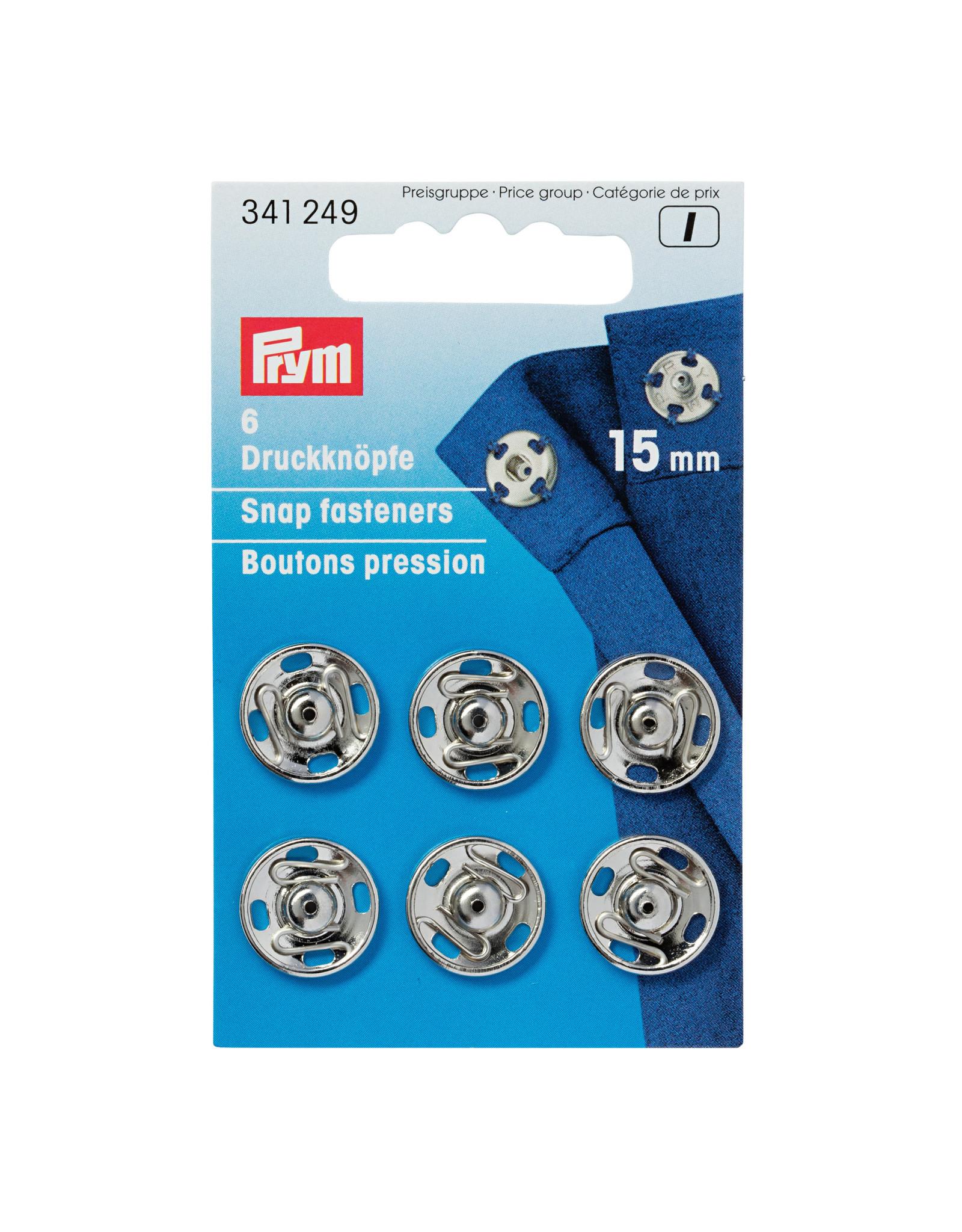 Prym Aannaaidrukknopen MS 15 mm zilverkleurig