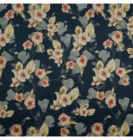 Scuba suede blauw met bloemen