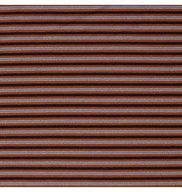 Jersey Stripes Lurex blauw/roest