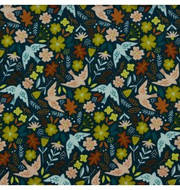 Poppy Poppy Babycord flower and birds