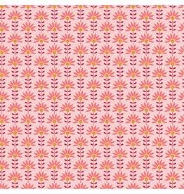 Poplin graphic roze bloemetjes Oeko-Tex