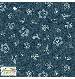 Stoffabrics Jersey Blauw met bloemen