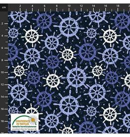 Stoffabrics Jersey blauw met roer