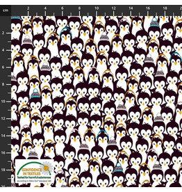 Stoffabrics Jersey paarse pinguins