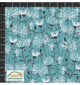 Stoffabrics Jersey turquoise met bloemen