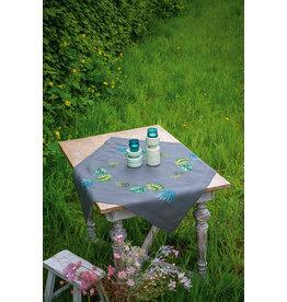 Vervaco Vervaco Borduurpakket bedrukt tafelkleed met ingeweven boord botanische bladeren