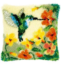 Vervaco Knooppakket kussen Kolibri met bloemen