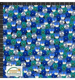 Stoffabrics Katoen poplin blauwe en turquoise bloemen