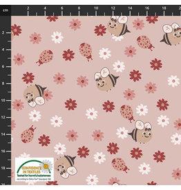 Stoffabrics Jersey bloemetjes en bijtjes roze