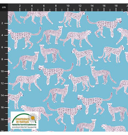 Stoffabrics Jersey cheetah lichtblauw