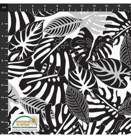 Stoffabrics Jersey zwart-wit bladeren