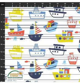 Stoffabrics Jersey boten met strepen