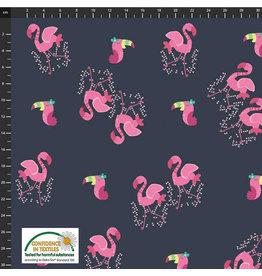 Stoffabrics Jersey flamingo's donkerblauw