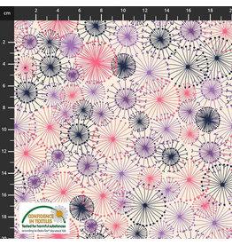 Stoffabrics katoen poplin roos-paarse bloemen