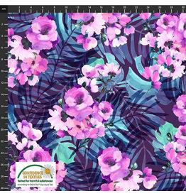 Stoffabrics Jersey paarse bloemen met turquoise