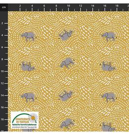 Stoffabrics Jersey olifanten geel