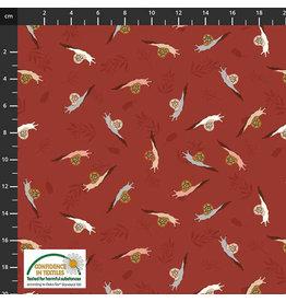 Stoffabrics 100% katoen vogels rood