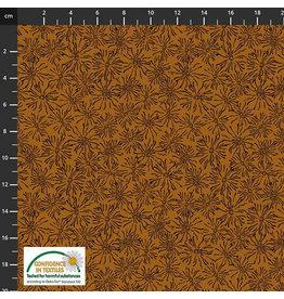 Stoffabrics 100% katoen bruin bloemen