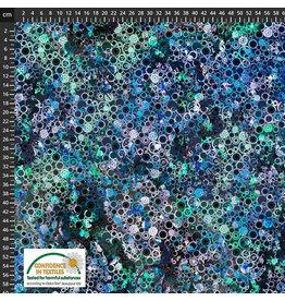 Stoffabrics 100% katoen tandwieltjes blauw