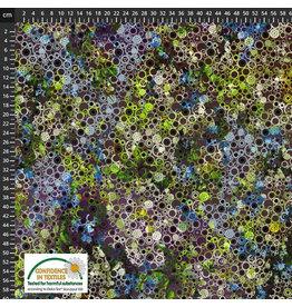 Stoffabrics 100% katoen tandwielen lichtgroen-paars